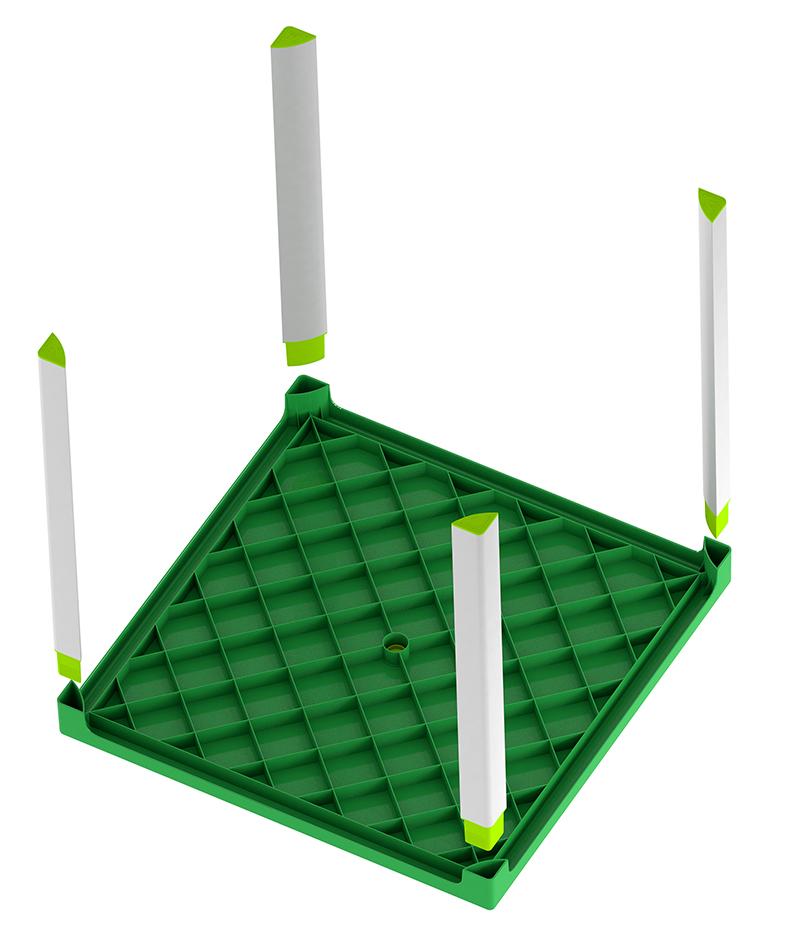 Mesa fortaleza verde por debajo
